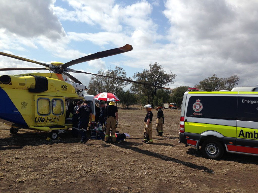 The Toowoomba-based RACQ LifeFlight Rescue helicopter was tasked to the scene shortly before 10am on Wednesday.
