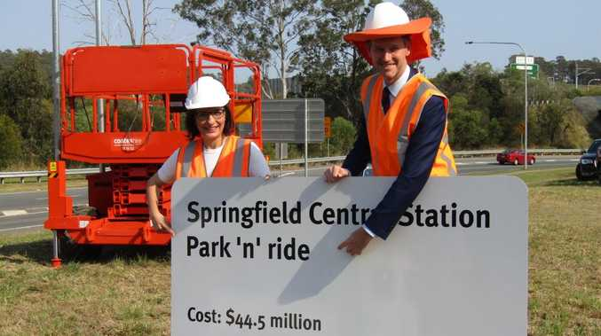 Member for Jordan Charis Mullen and Transport Minister Mark Bailey at the Springfield Central Station park 'n' ride.