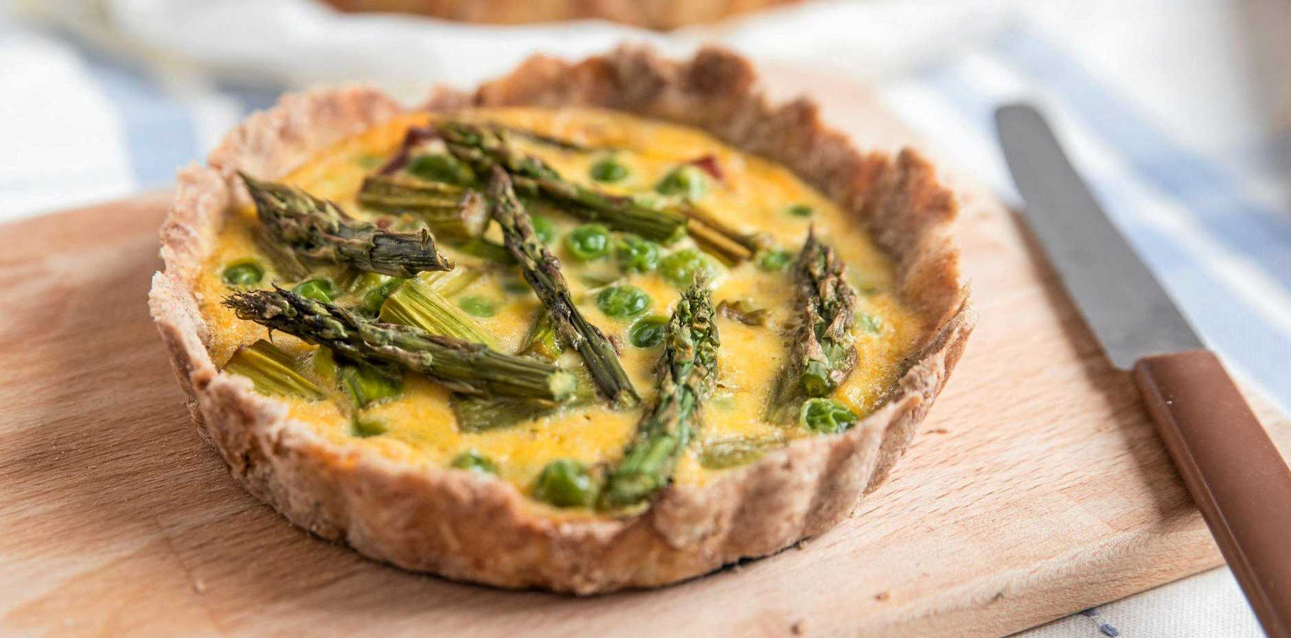 These delicious little quiches can be made with any spring vegetables you like.