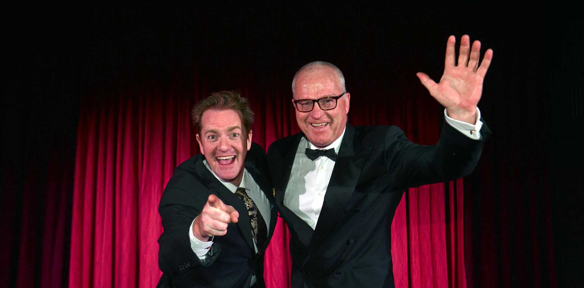 LIGHTS CAMERA ACTION: Actor James Millar clowning around with the Mayor Mark Jamieson.