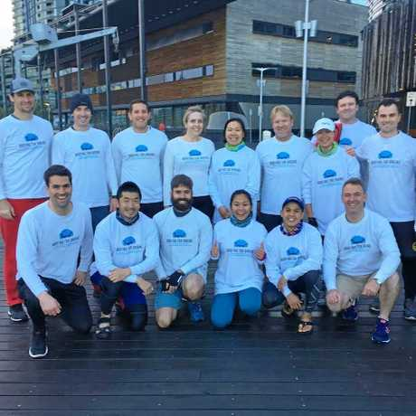 An almost complete Boating For Brains crew, together for the first time to row their first 100km endurance paddle on the Yarra River in Melbourne.