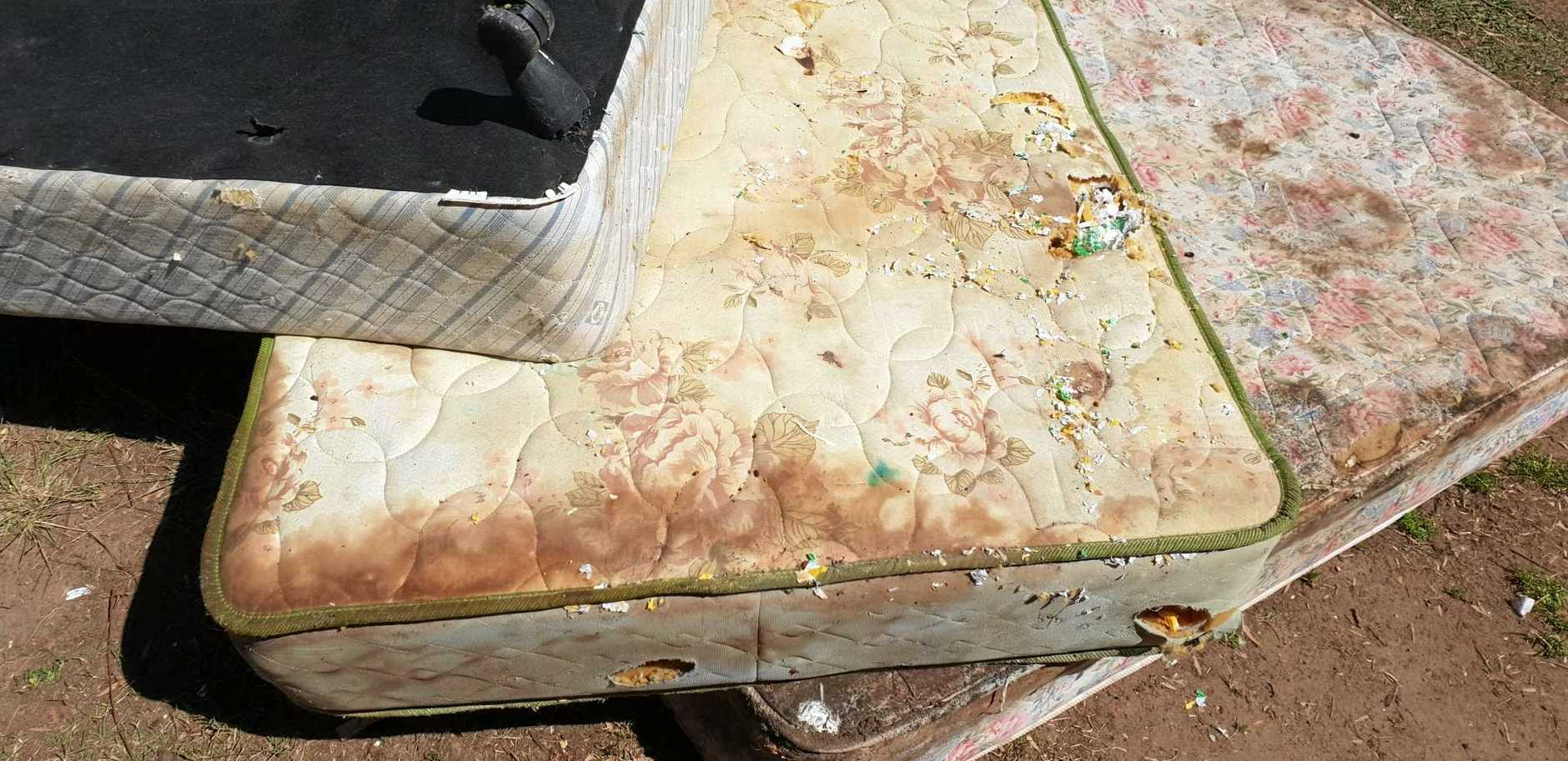 A mattress from the messy Gailes home.