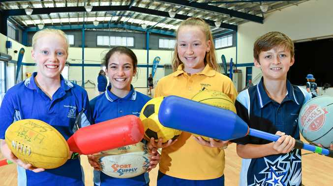 Sporty kids: Tannum Sands School sports captains Jessica Buck, Francesca Deboul, Camille Bebendorf and Lachlan Blackmore are eager to see the new sports equipment from the Coles Sports Program.