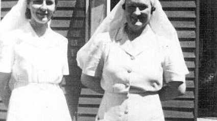 Sister Martins and Matron Clarke in 1940s outsdie Nanango hospital.