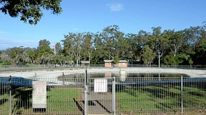 The Lismore Lake Pool which is almost empty and not being used at present.