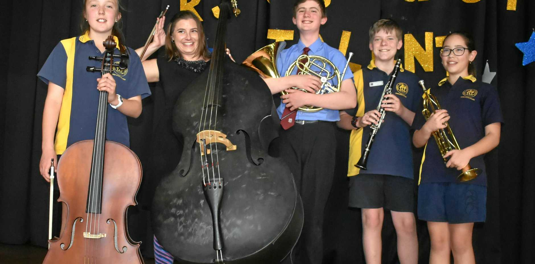 The Queensland Symphony Orchestra performed alongside students from local schools.