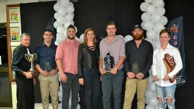 Greg Carey, best and fairest winners Dylan Galloway, Darren and Hayley Pettiford (Warwick Hotel), Lachlan Palmer, Dion Galloway and Sam Frattini.