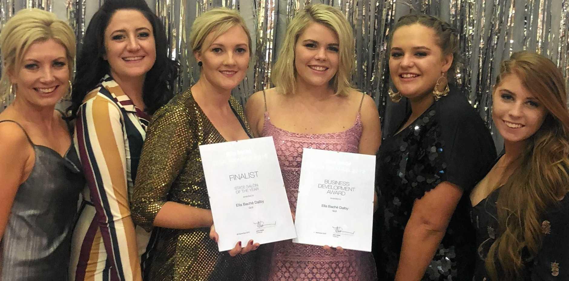 AWARDS NIGHT: Natalie Leis, Sam Burwood, Gemma Lowe, Meg Wilkie, Alexa Goodmanson and Laycee Fermor from Ella bache Dalby, receiving thier accolades last weekend in Sydney.