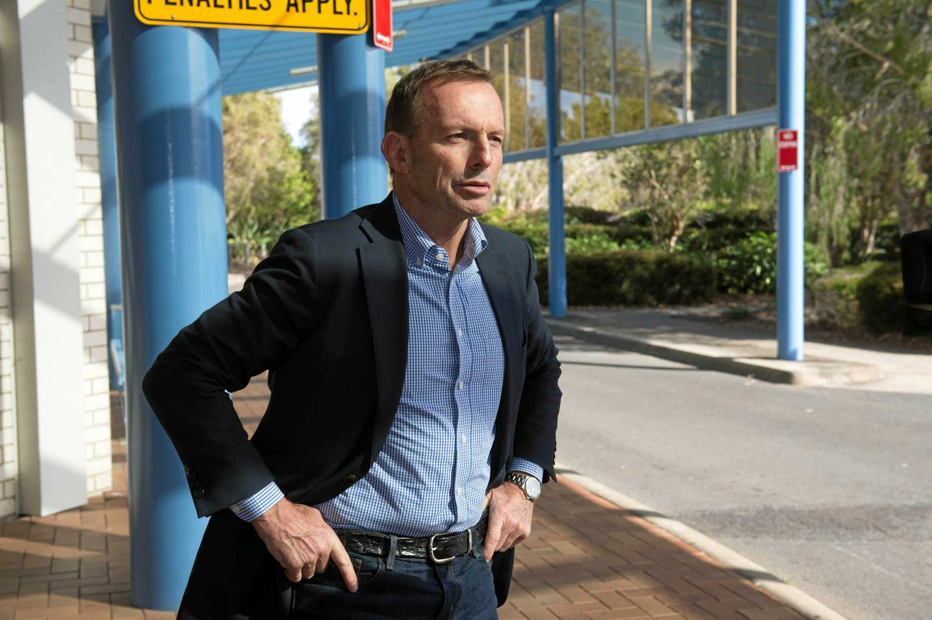 Former Prime Minister Tony Abbott at Coffs Harbour Regional Airport after spending a day on the campaign trail in Cowper. .  20 June  2016.