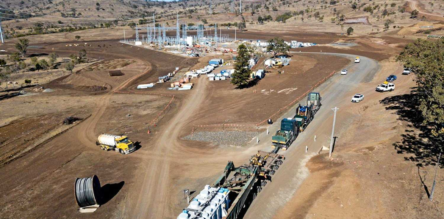 FULL STEAM AHEAD: The first pieces come together for the Coopers Gap Wind Farm, set to be connected to the grid by mid 2019.