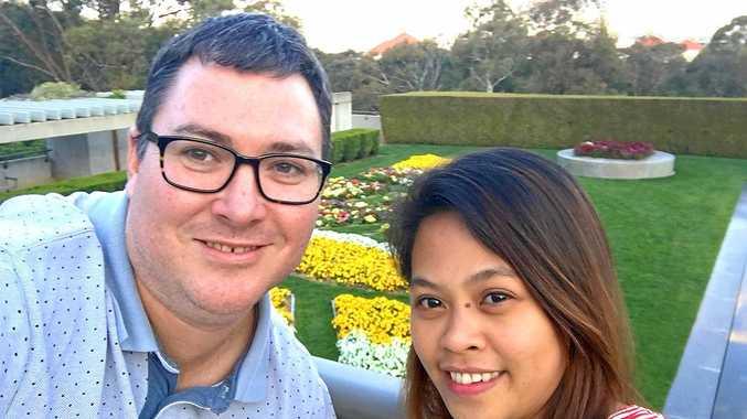 HAPPY COUPLE: Dawson MP George Christensen and fiancee April Asuncion.