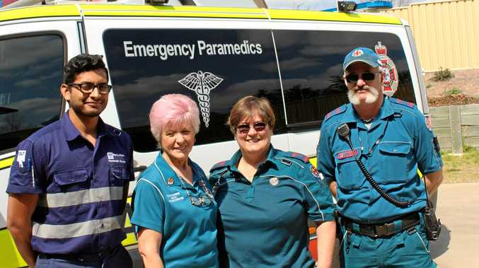 HELPERS: LAC secretary Bev McLean (second from left) helps make the paramedics' lives easier, (from left) Hari Jayakody, Ginny Lovelady and Jon Dean.