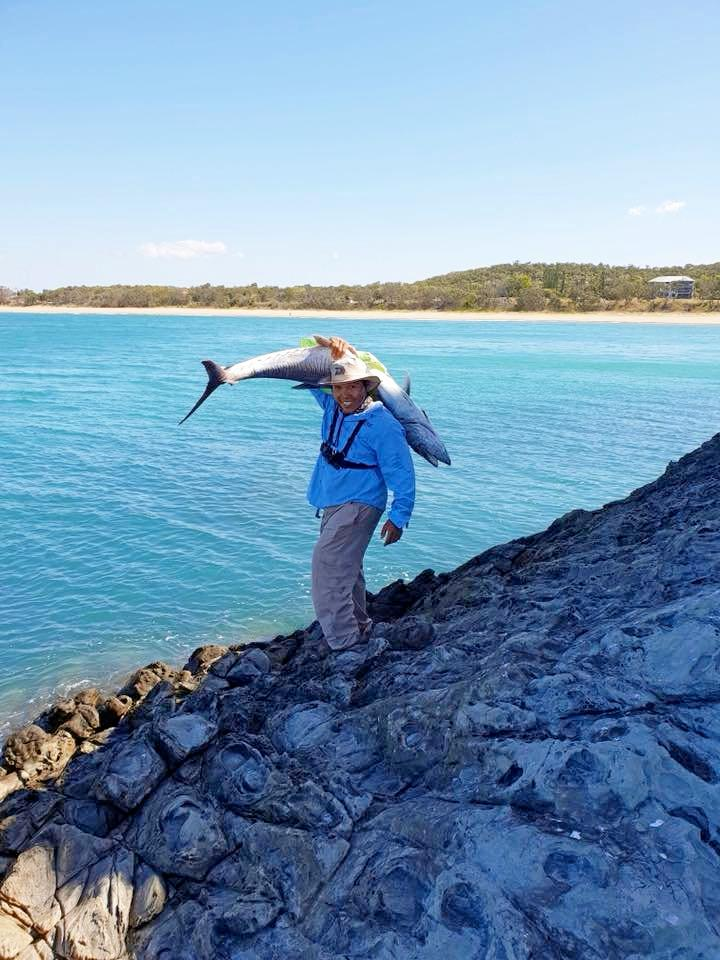 CATCH OF HIS LIFE: Jerry Lagahit never expected to catch a 170 cm Spanish mackerel off the rocks at Double Head in Yeppoon.