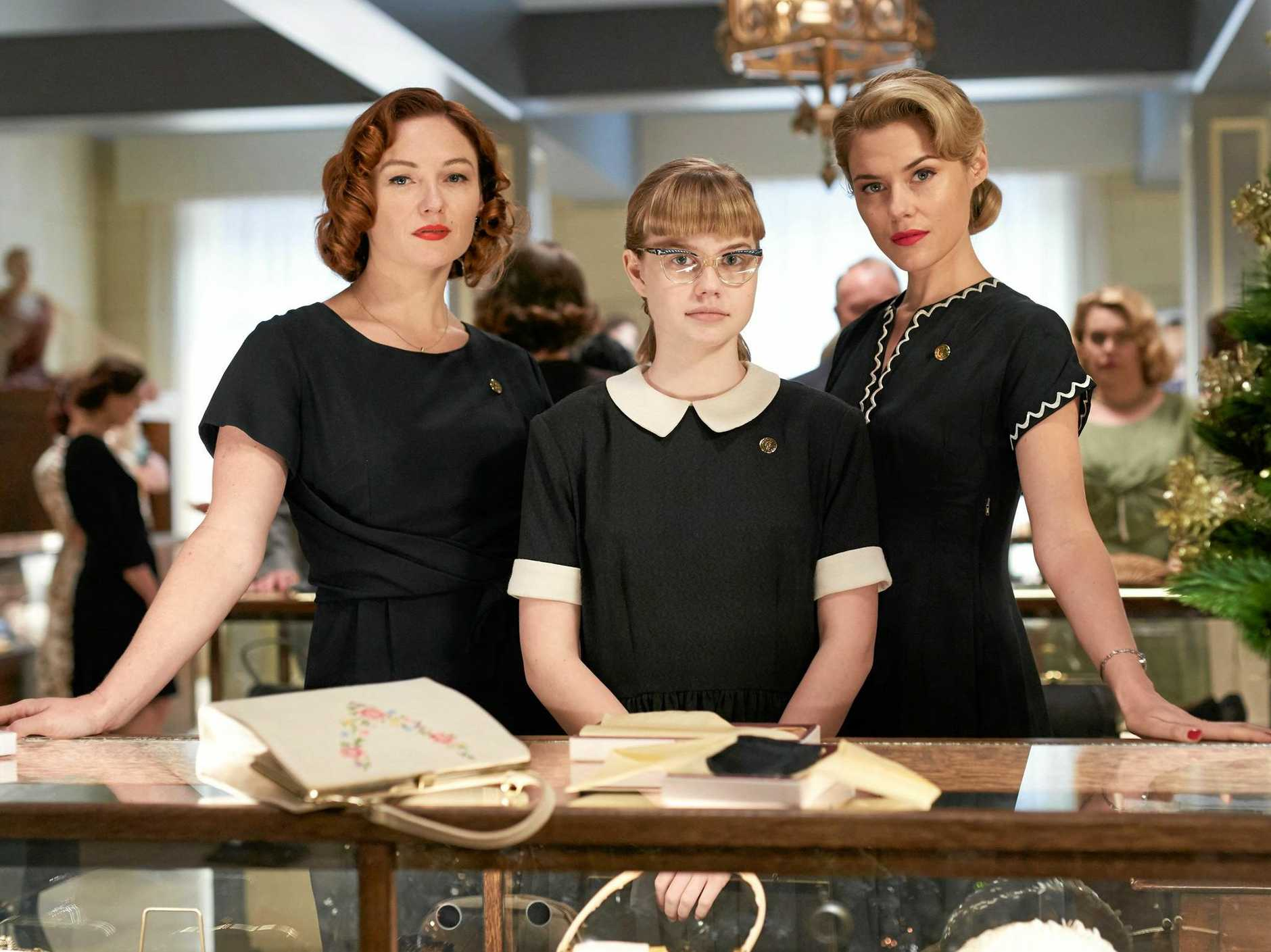 Alison McGirr, Angourie Rice and Rachael Taylor in a scene from Ladies in Black.