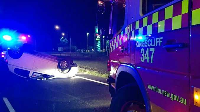 A family of four walked away unharmed after a car rollover on the M1 at Chinderah last night.