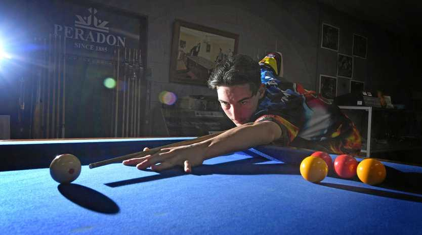 SHOT ABOVE: Gympie 8-ball player Joe McClintock has his sites set on winning a place in the Australian team.