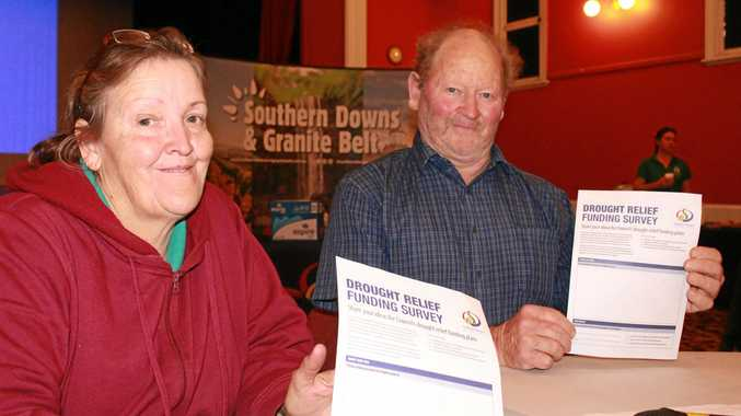 Liz Johnson and John Aspinall were among forum attendees to fill out the Southern Downs Regional Council's drought funding survey on Tuesday.