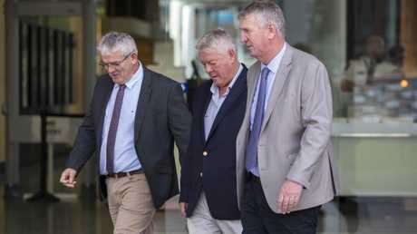 (L-R) Neill, John and Denis Wagner during the defamation proceedings. (AAP Image/Glenn Hunt)