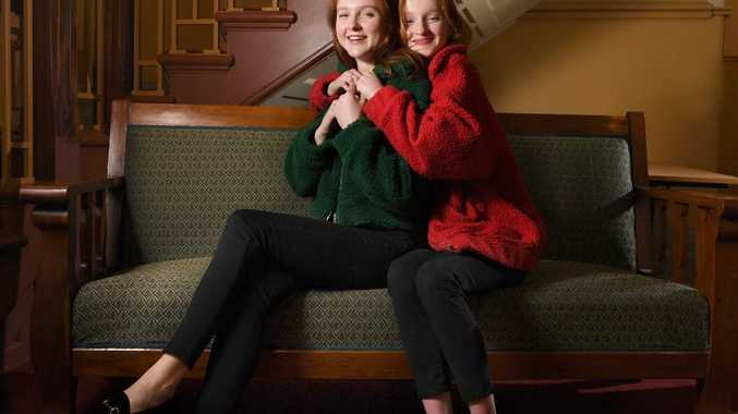 DOUBLE ACT: Madison Stubbington and sister Ella at the Adelaide Fashion Festival model casting at Norwood Town Hall on Wednesday. Picture: Tricia Watkinson