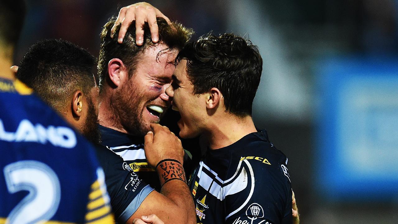 Gavin Cooper celebrates his try against the Parramatta Eels at 1300SMILES Stadium. Picture: Zak Simmonds