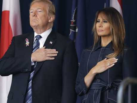 President Donald Trump and first lady Melania Trump participate in the September 11th Flight 93 Memorial Service in Shanksville. Picture: AP