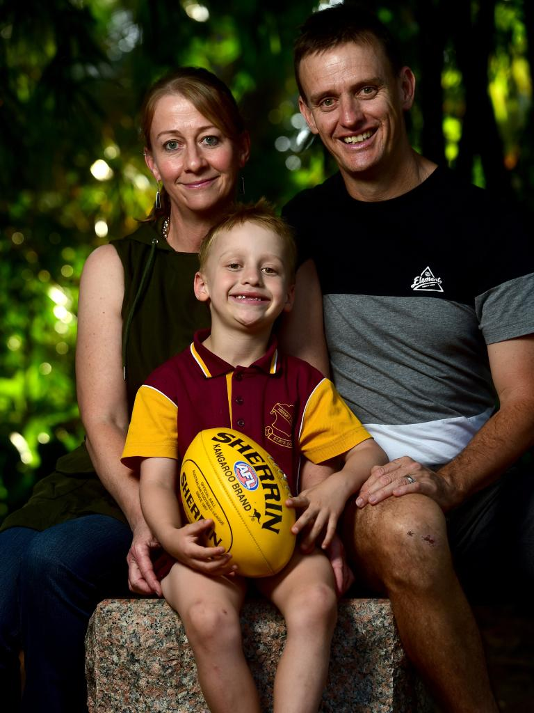 Laurette Laurencont and Dudley Goodman with Joel, 6, at Queens Gardens. Picture: Evan Morgan