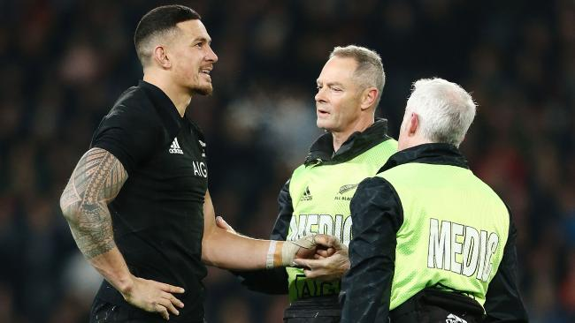 Sonny Bill Williams of the All Black has his shoulder checked after a knock in June.