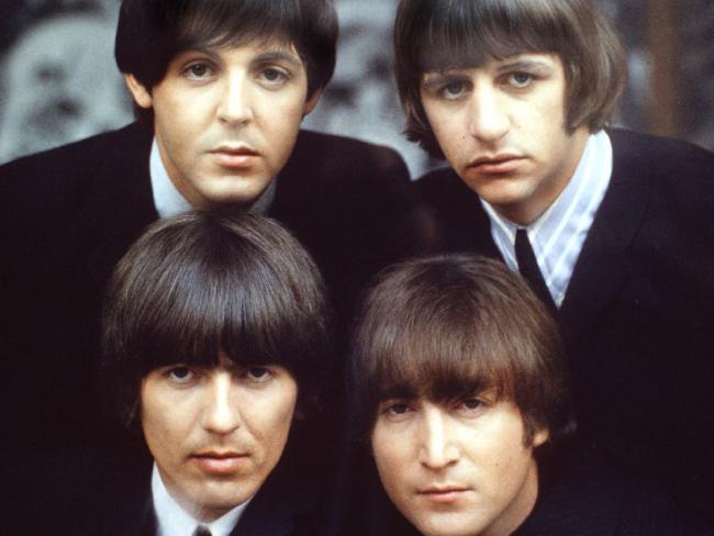 The Beatles, clockwise from top left, Paul McCartney, Ringo Starr, John Lennon, and George Harrison. Picture: AP