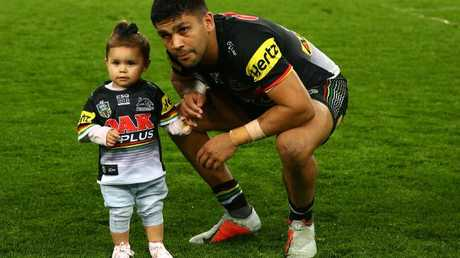 Tyrone Peachey of the Panthers with his daughter Penelope after the NRL Elimination Final match between the Penrith Panthers and the New Zealand Warriors. Photo: Getty Images