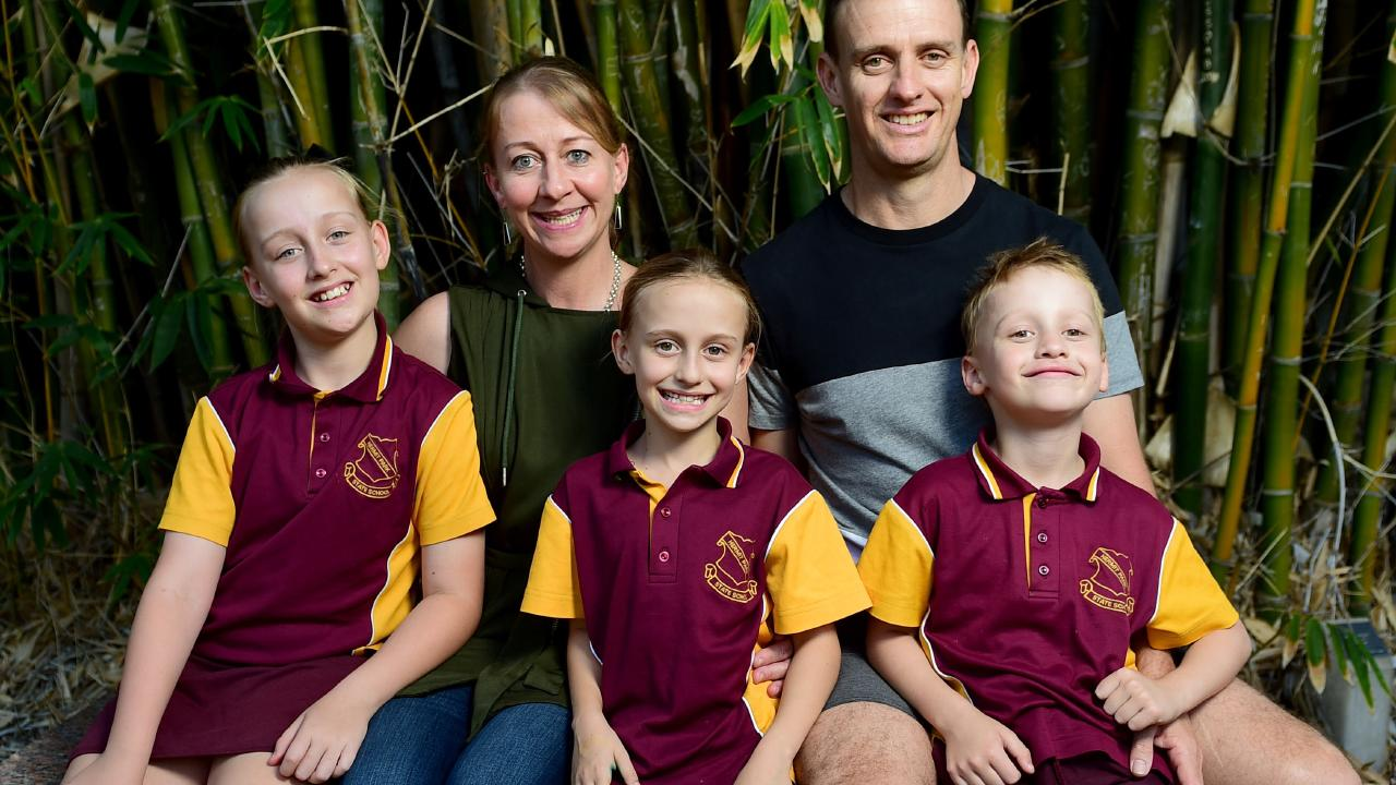 Laurette Laurencont and Dudley Goodman with Kasey, 10, Georgie, 8, and Joel, 6, at Queens Gardens. Picture: Evan Morgan