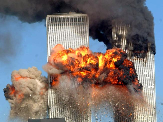 A fiery blasts rocks the south tower of the World Trade Center as the hijacked United Airlines Flight 175 from Boston.  Picture:  Getty