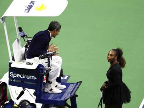 Carlos Ramos and Serena Williams square off (Photo by Al Bello/Getty Images)
