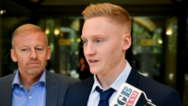 Sam Oliver speaks to the media outside the Downing Centre Local Court in Sydney. Picture: Joel Carrett