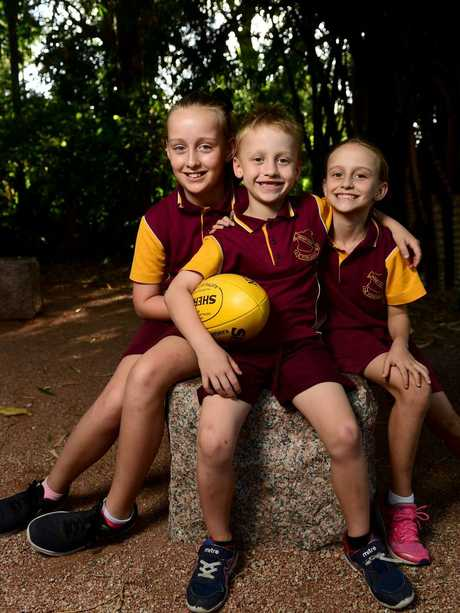 Siblings Kasey, 10, Joel, 6, and Georgie Goodman, 8, at Queens Gardens. Picture: Evan Morgan