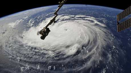 This photo provided by NASA shows Hurricane Florence from the International Space Station on Monday, September 10, 2018, as it threatens the US. East Coast.