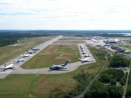 Aircraft crowd a runway during Operation Yellow Ribbon, the diversion of civilian flights to Gander Airport in Newfoundland, Canada, in response to the tragedy. Picture: Splash News