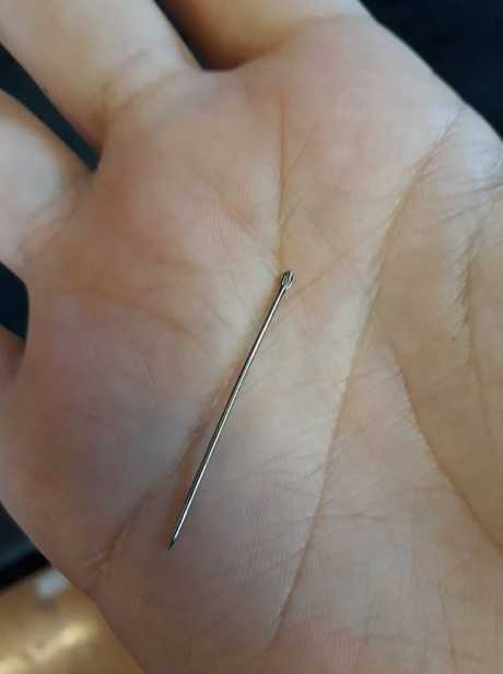 SPIKED: Angela Stevenson found this needle embedded in a strawberry she bought from Woolworths Kirkwood.
