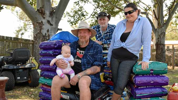 Rodney Kowland, Madonna and Dennis Perren are collecting dog food to donate to drought affected farmers out west. If you'd like to contribute, give him a call on 0499 187 082.