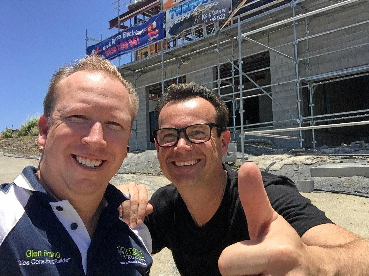 Glen Finning, owner of Metro Builders Yeppoon with Australia's Best Houses host Gary Takle in better days.