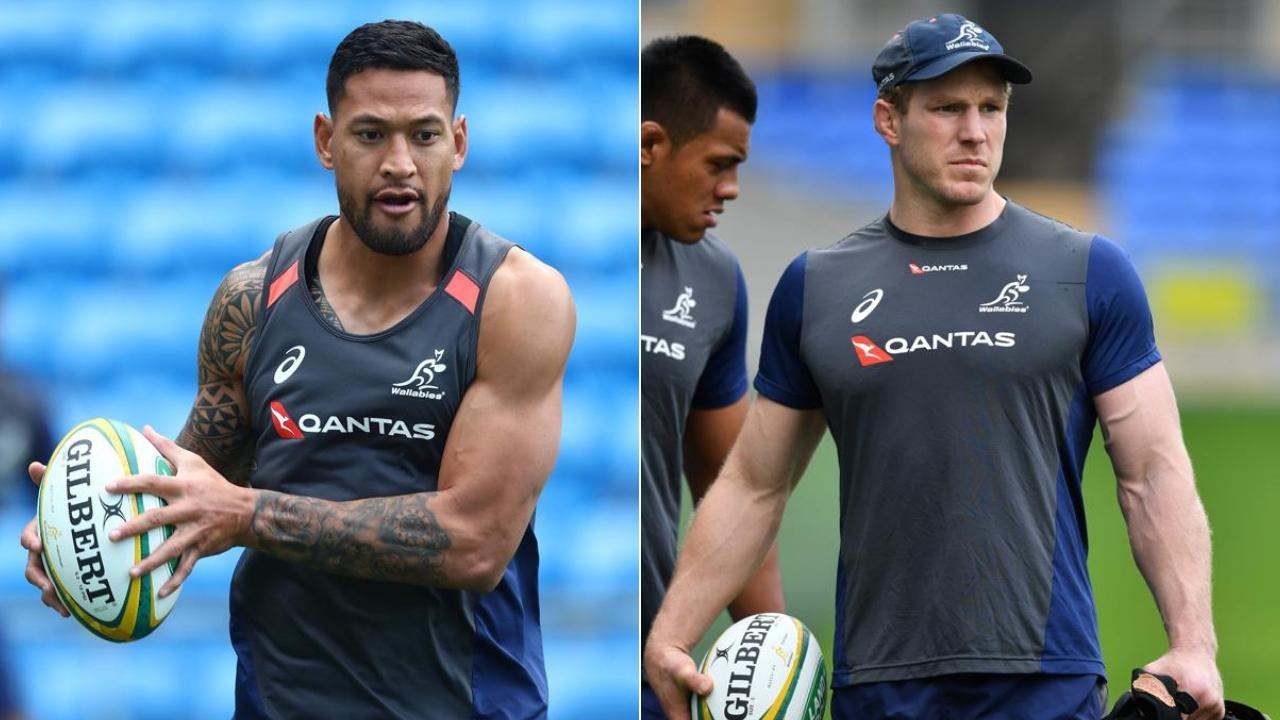 (L-R) Israel Folau and David Pocock are two big names returning to the Wallabies.