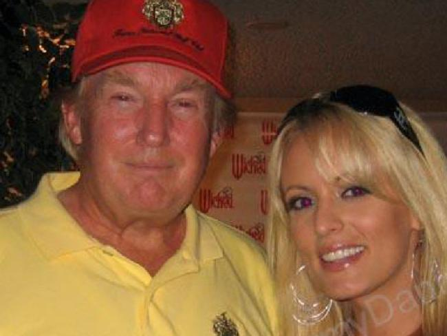 Donald Trump with Stephanie Clifford, whose stage name is Stormy Daniels, in a 2006 photo uploaded to her Myspace.com account. Picture: Supplied