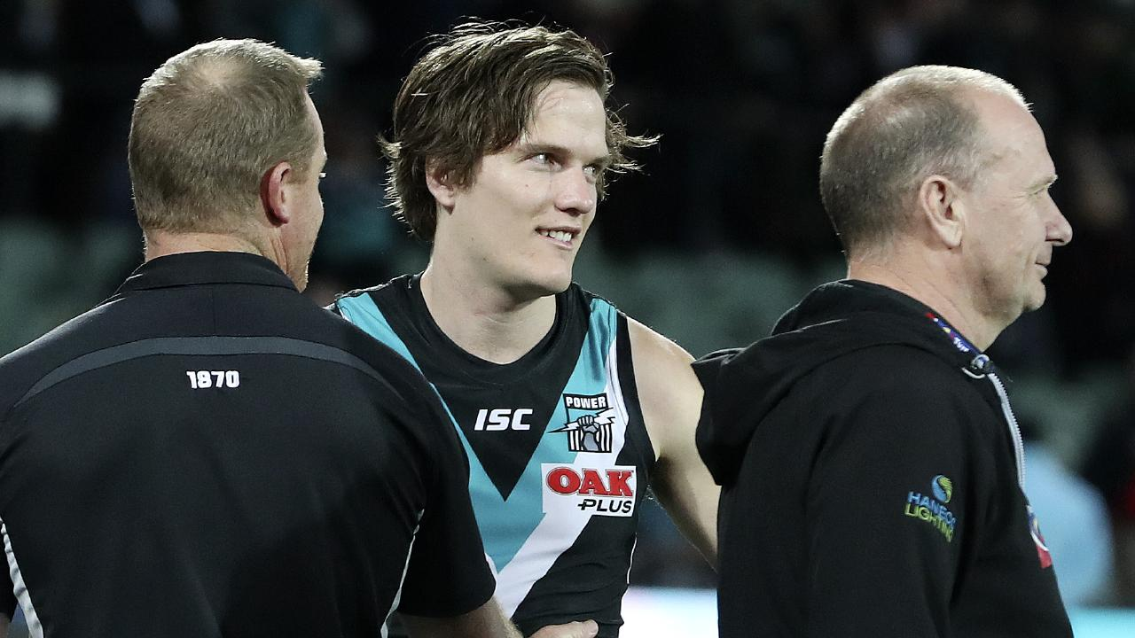 """Port Adelaide wingman Jared Polec is on his way to AFL club North Melbourne, saying the Kangaroos' five-year, $3.5 million """"godfather"""" offer is too good to refuse. Picture: Sarah Reed"""