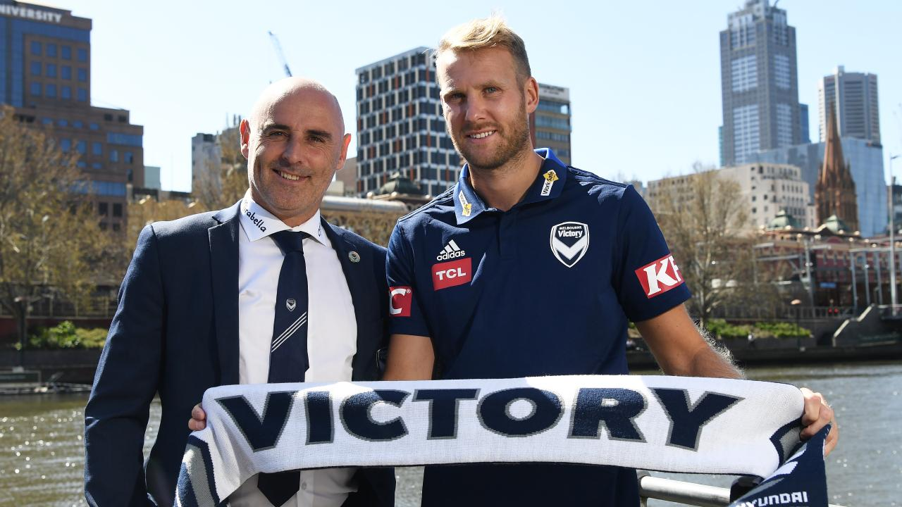 New signing Ola Toivonen with Melbourne Victory coach Kevin Muscat on Thursday. Picture: AAP