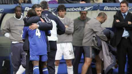Jose Mourinho hugs Claude Makelele during their time together at Chelsea.