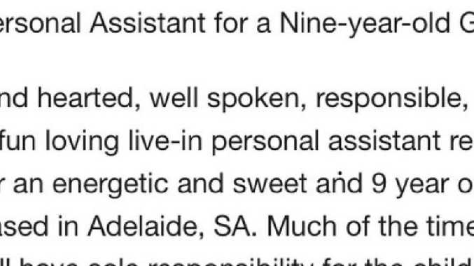 The job was for a personal assistant but it read more like an ad for a full-time nanny. Picture: SEEK