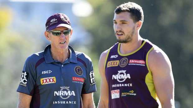 Corey Oates with coach Wayne Bennett. Picture: AAP Image/Dave Hunt