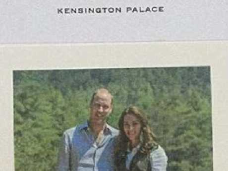 The Duke and Duchess of Cambridge sent wellwishers a thankyou note after they received cards on the occasion of their seventh wedding anniversary in April. Picture: Supplied