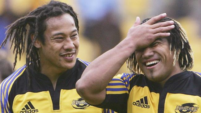 The Hurricanes' Tana Umaga and Ma'a Nonu after defeating the Waratahs in 2005. Picture: Getty Images
