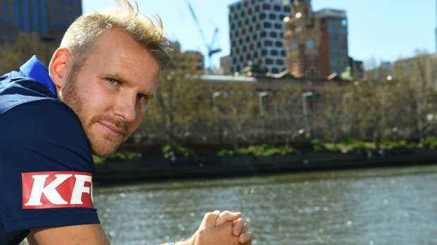 New Melbourne Victory signing Ola Toivonen at Melbourne's Southbank on Thursday. Picture: AAP