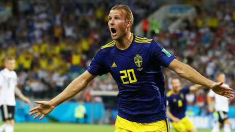 Ola Toivonen celebrates after scoring for Sweden against Germany at the World Cup in Russia. Picture: Getty Images